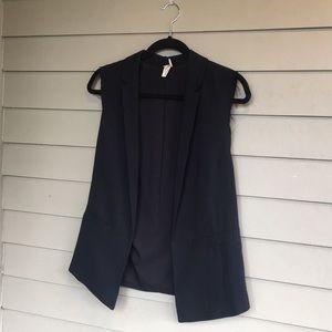 Barley worn blazer vest with raw hem detail